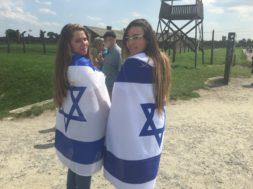 Jewish Girls Draped in Israeli Flags