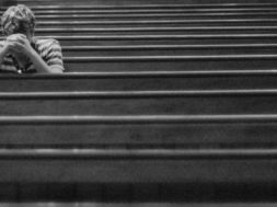 man in church prayer and meditation