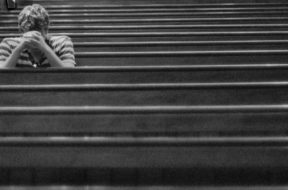 man in church prayer and meditation