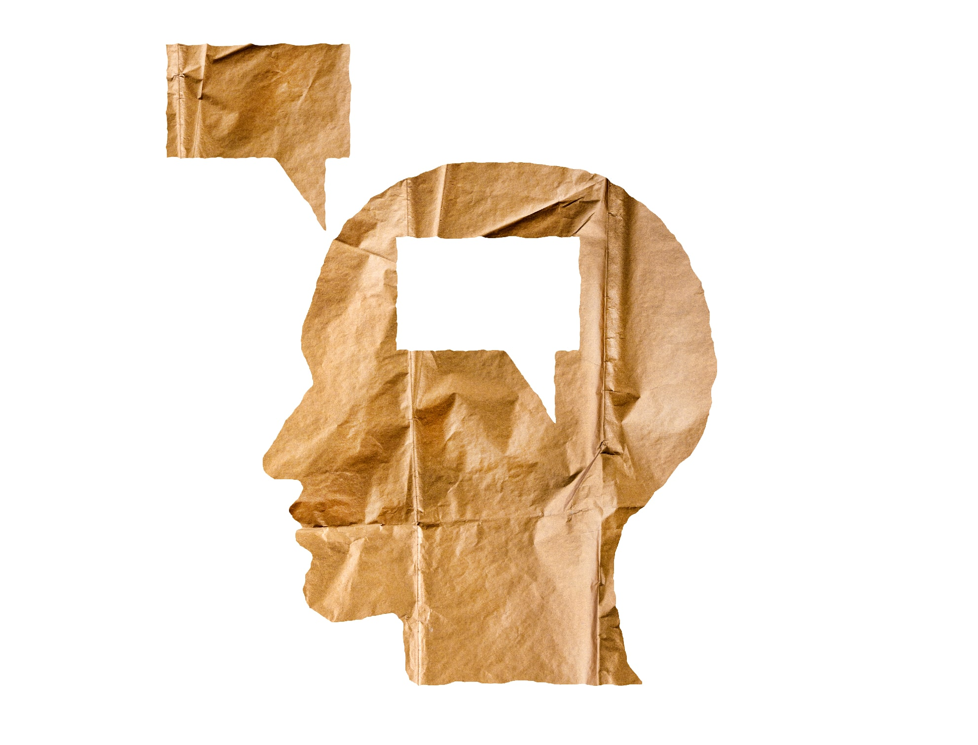 Crumpled paper shaped as a human head and talk balloon on white.
