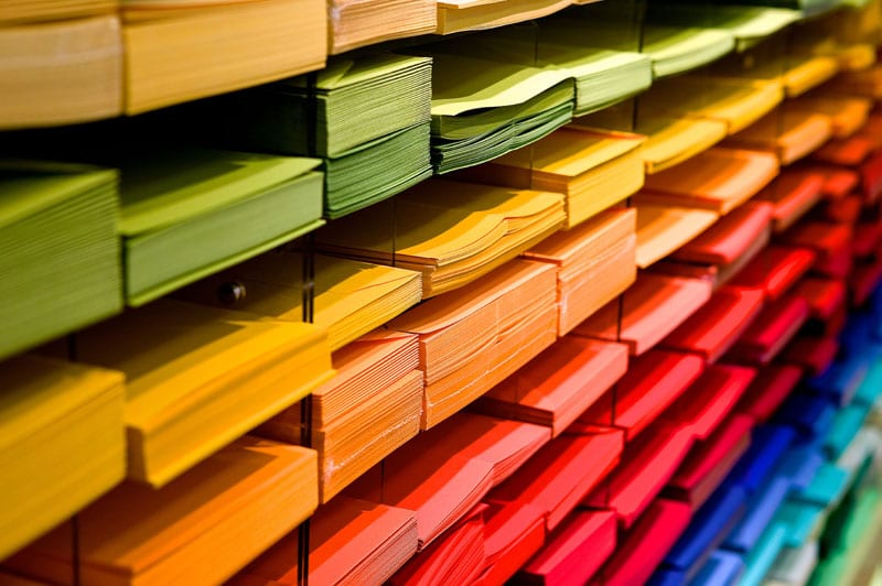 colored stacks of paper